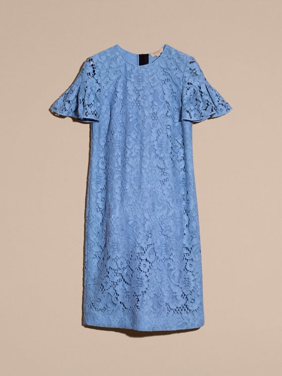 Macramé Lace Shift Dress with Ruffle Sleeves Cornflower - cell image 3