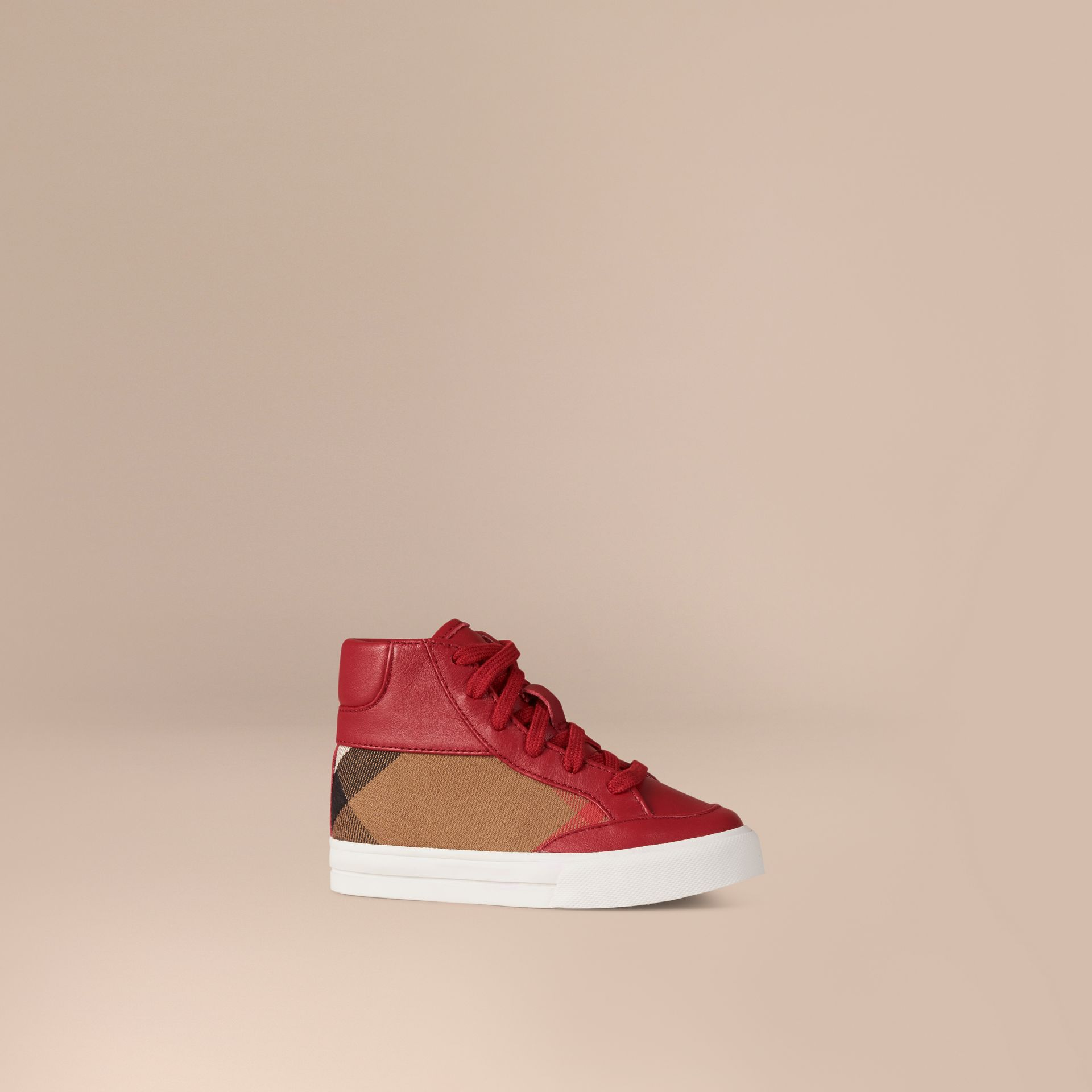 Leather and House Check High-Top Trainers in Parade Red | Burberry - gallery image 1