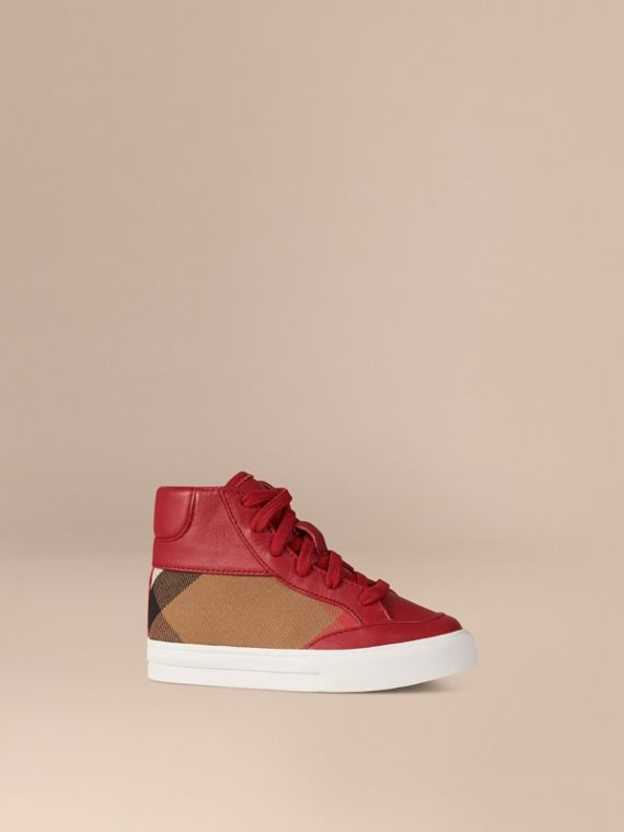 Leather and House Check High-Top Trainers in Parade Red