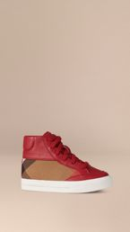Leather and House Check High-Top Trainers