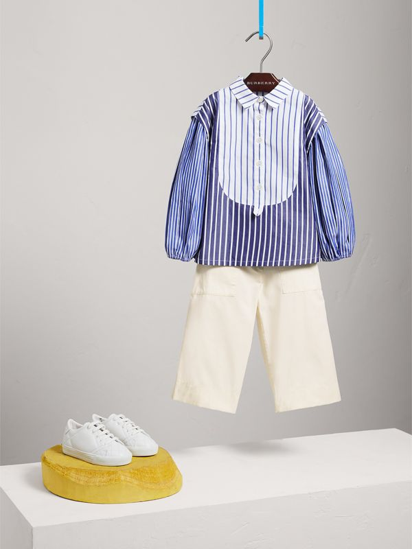Contrasting Stripe Cotton Tunic Shirt in Indigo | Burberry - cell image 2