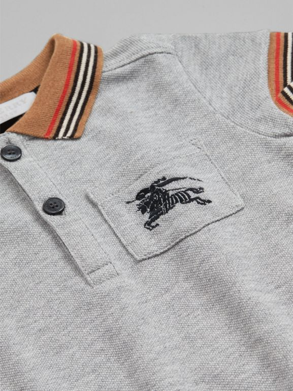 Heritage Stripe Detail Cotton Polo Shirt in Grey Melange - Children | Burberry United Kingdom - cell image 1