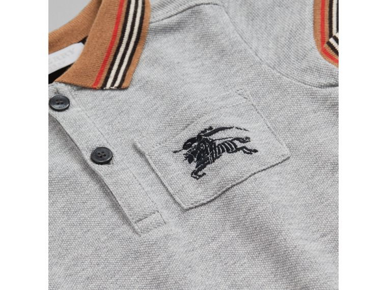 Heritage Stripe Detail Cotton Polo Shirt in Grey Melange | Burberry - cell image 1
