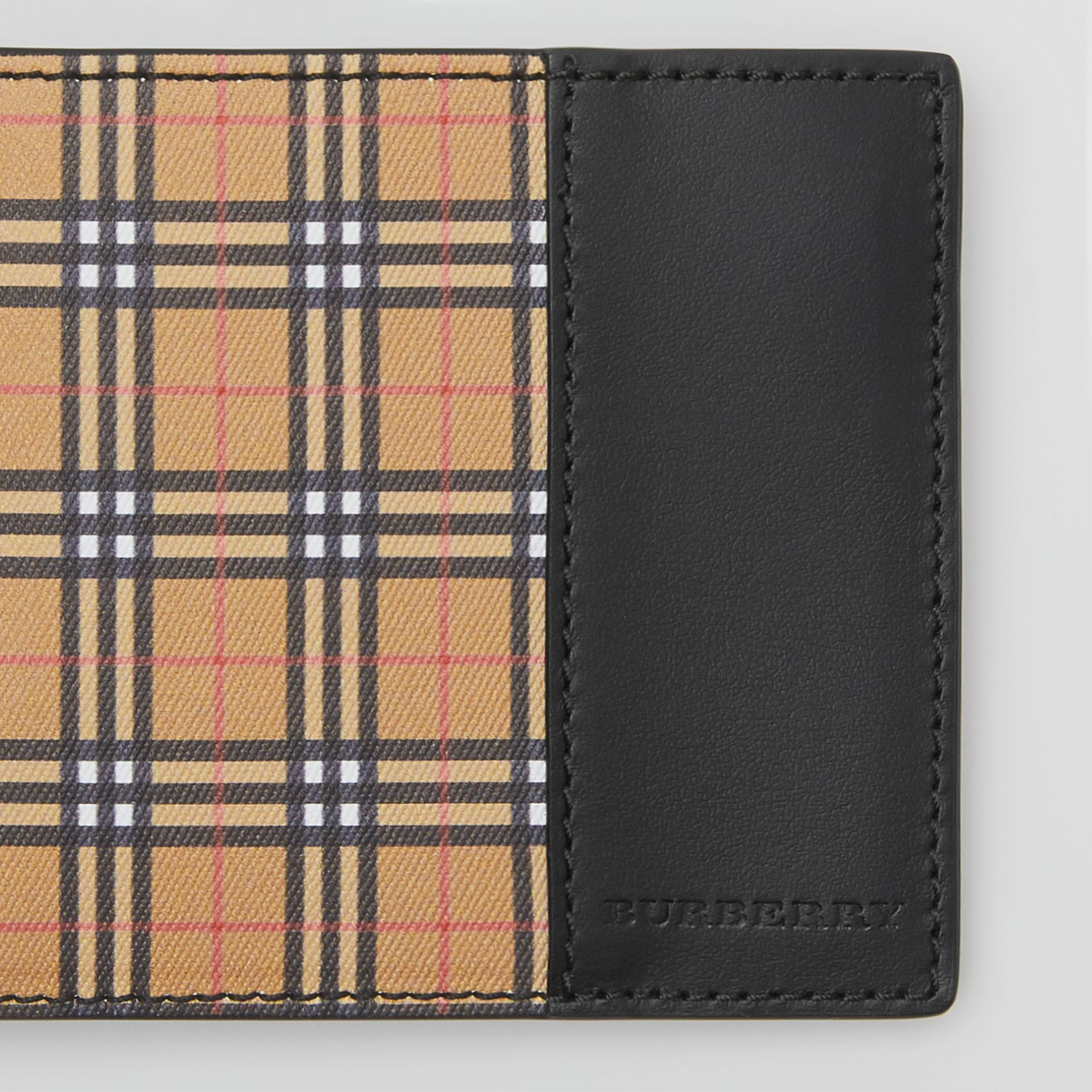 Small Scale Check International Bifold Wallet in Antique Yellow/black - Men | Burberry - gallery image 1
