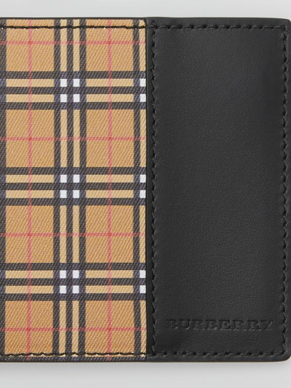 Small Scale Check International Bifold Wallet in Antique Yellow/black - Men | Burberry United Kingdom - cell image 1