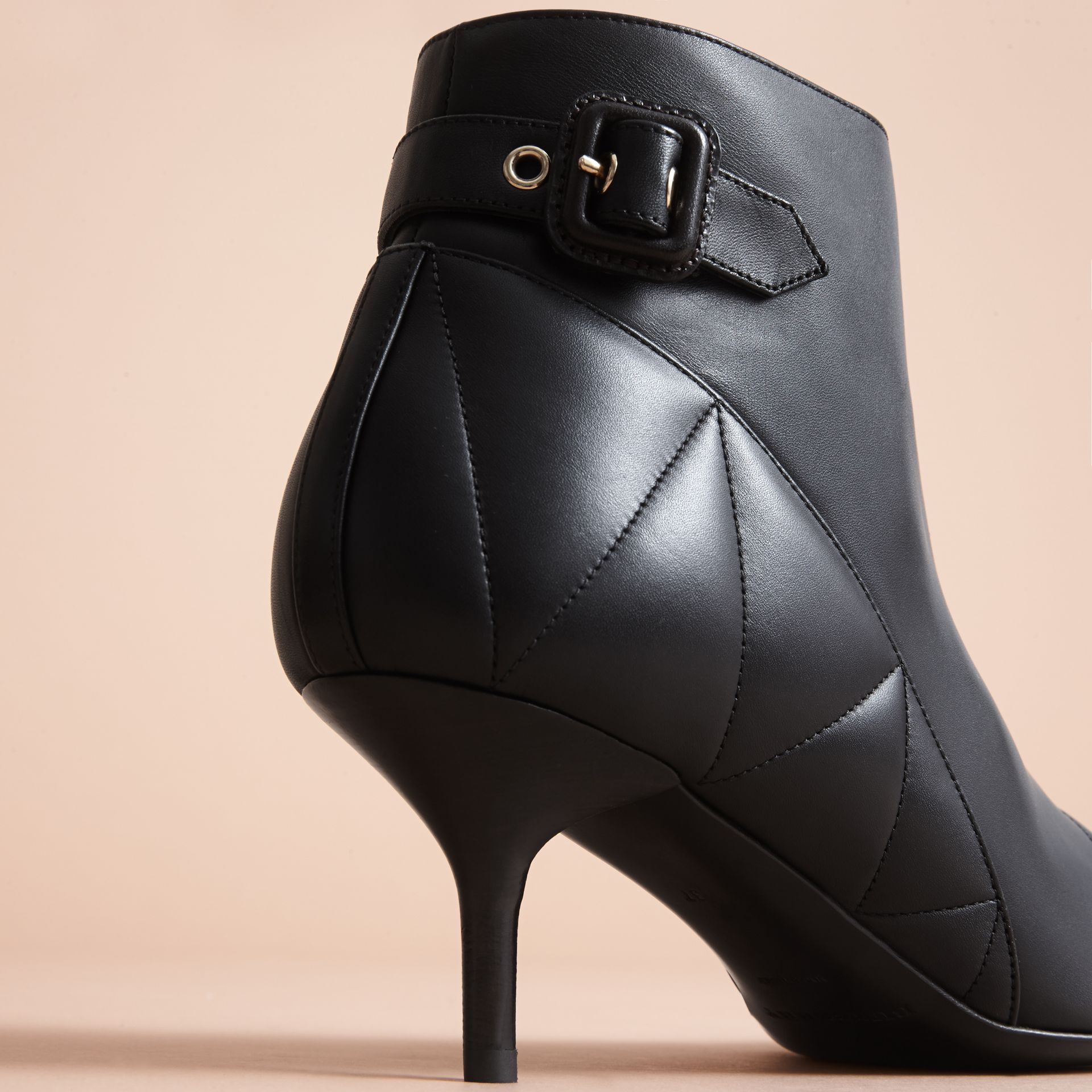 Quilted Leather Ankle Boots in Black - Women | Burberry - gallery image 2