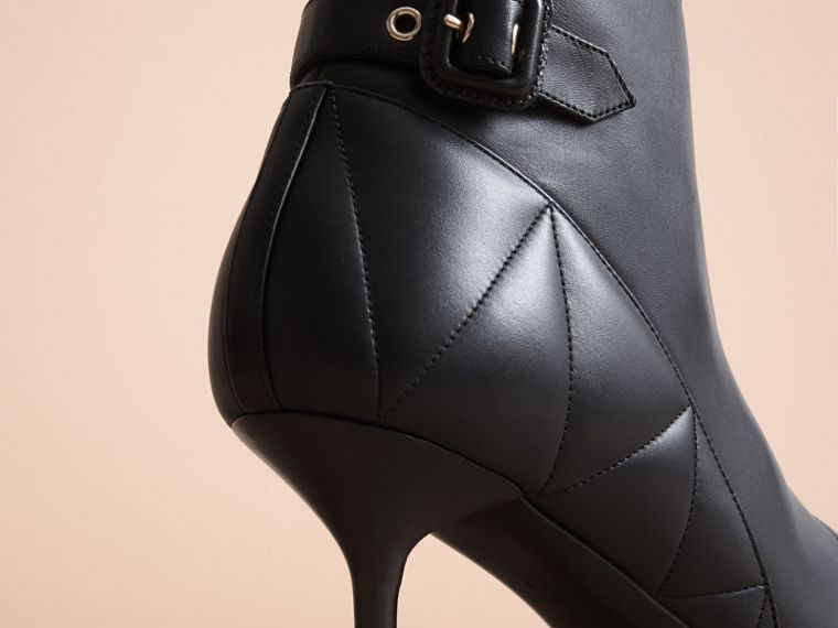 Quilted Leather Ankle Boots in Black - Women | Burberry - cell image 1