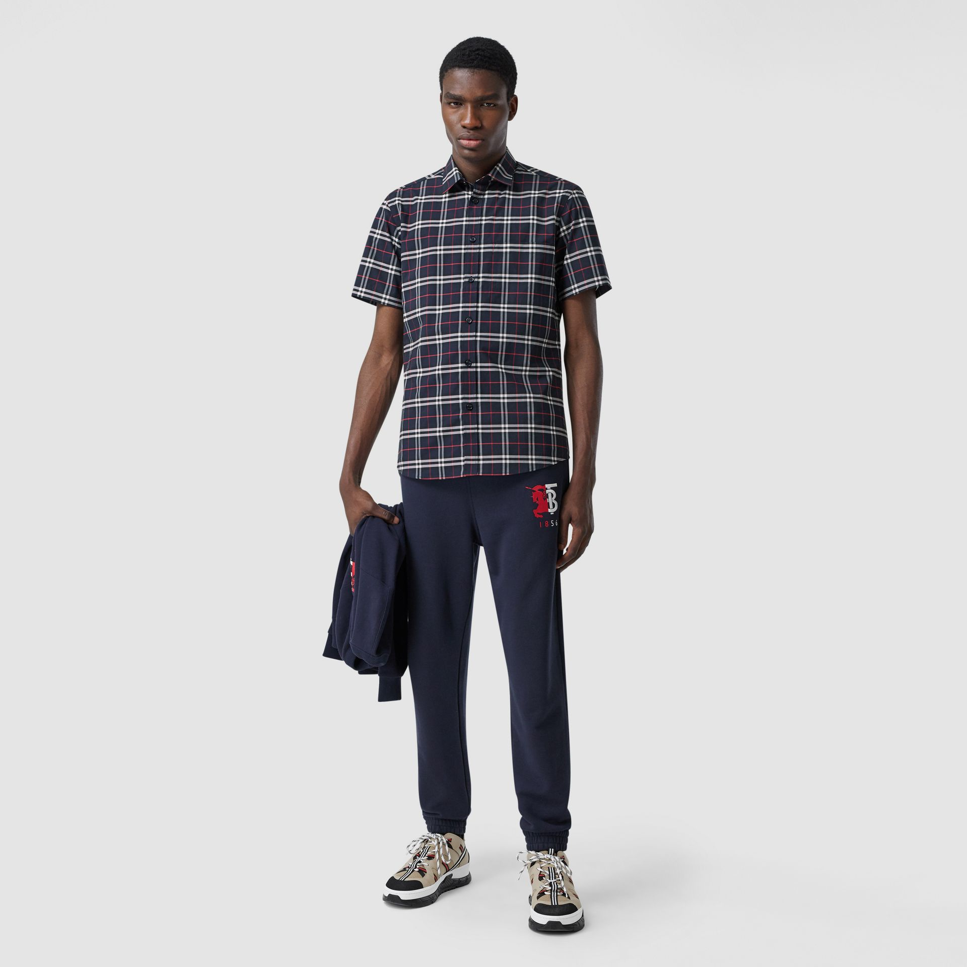 Short-sleeve Small Scale Check Stretch Cotton Shirt in Navy - Men | Burberry - gallery image 0