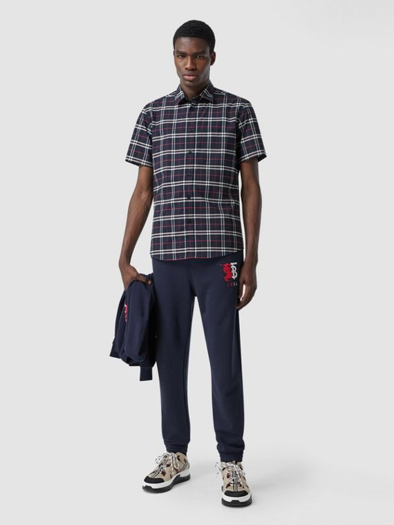 Short-sleeve Small Scale Check Stretch Cotton Shirt in Navy
