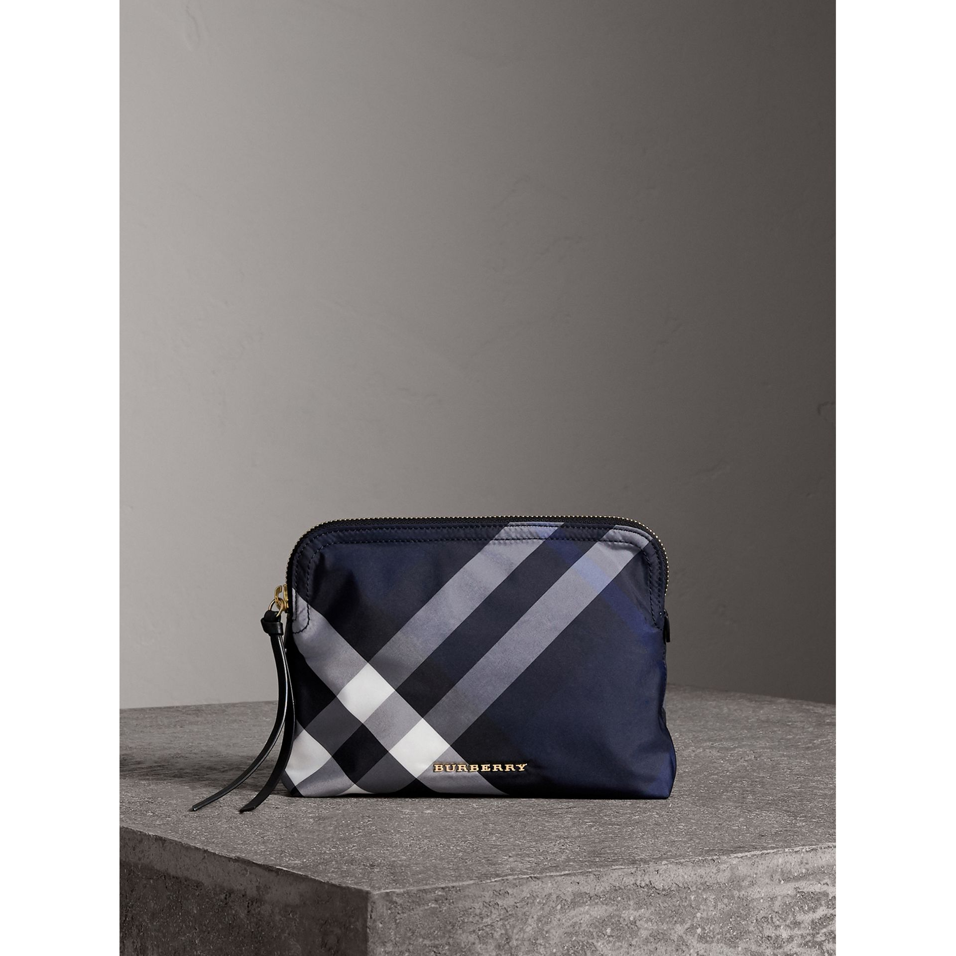 Large Zip-top Check Pouch in Indigo Blue - Women | Burberry Canada - gallery image 1
