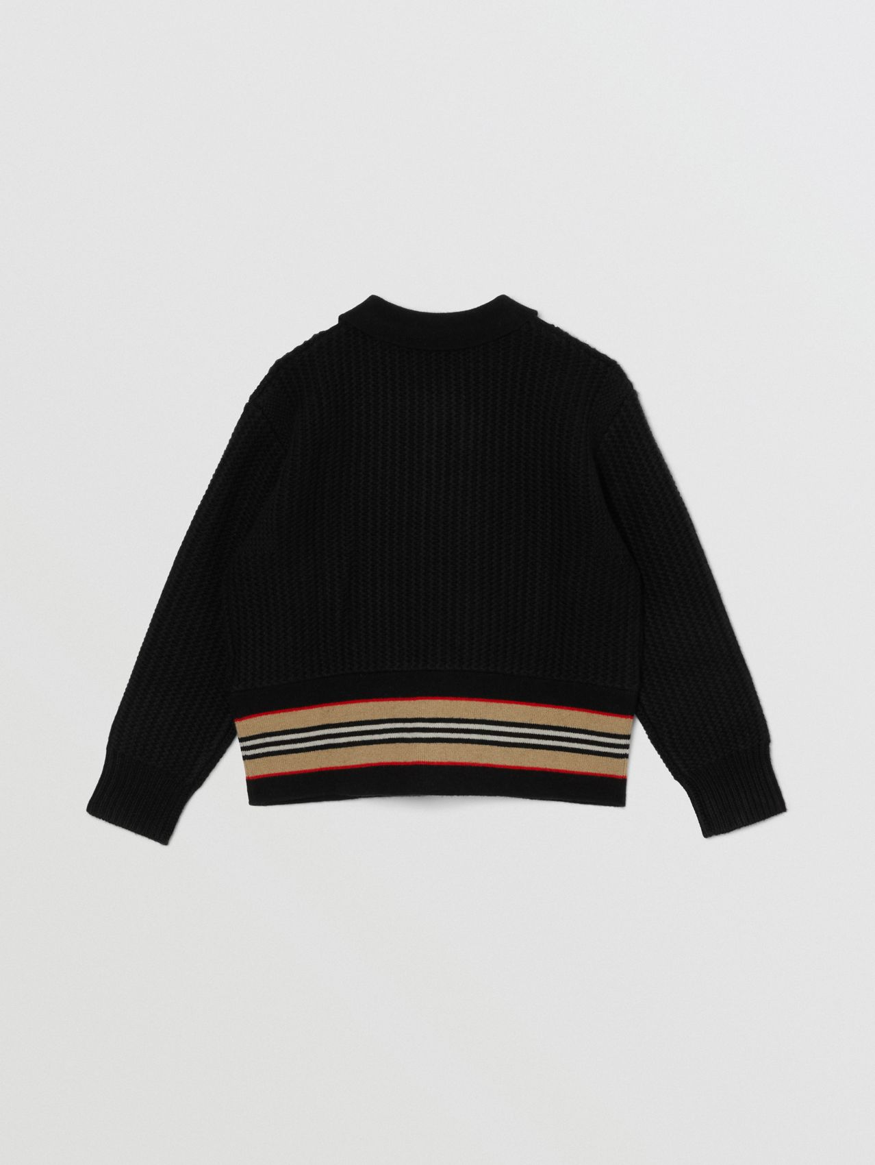 Icon Stripe Detail Wool Cashmere Cardigan in Black