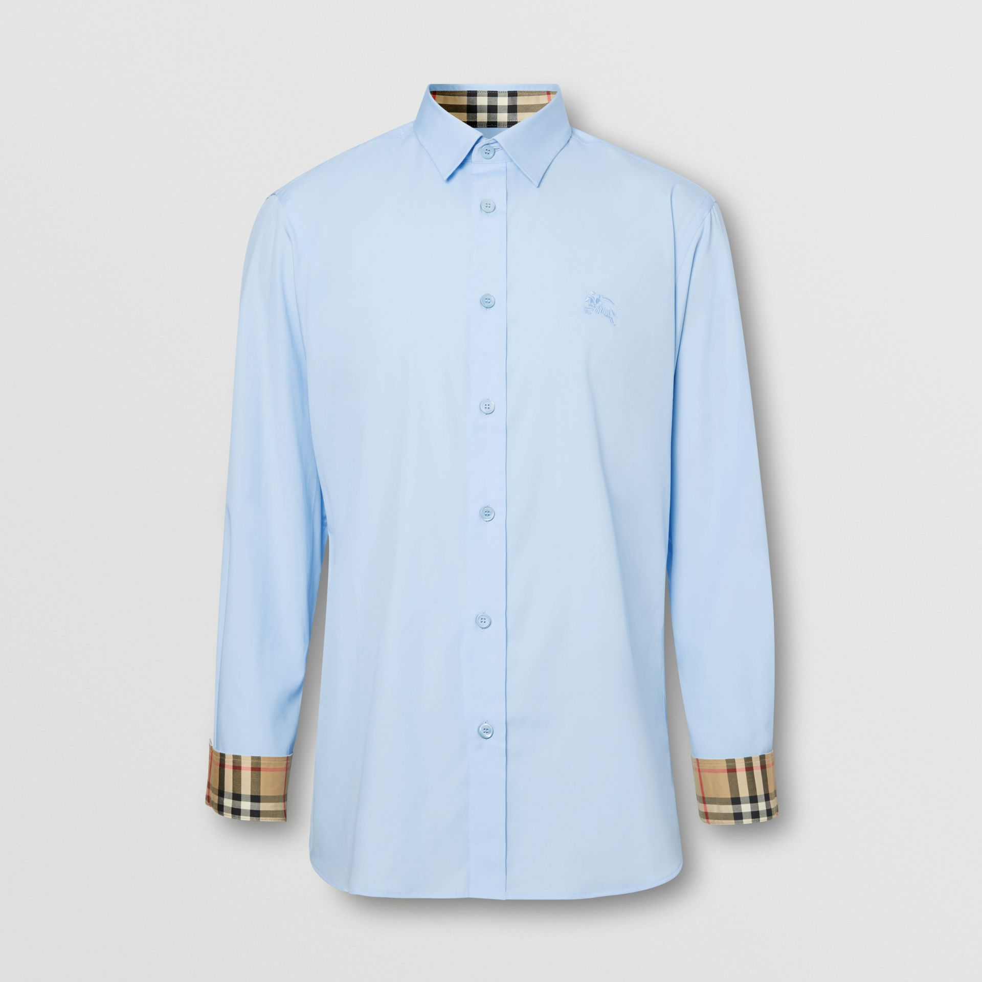 Classic Fit Embroidered EKD Cotton Oxford Shirt in Sky Blue - Men | Burberry - gallery image 3