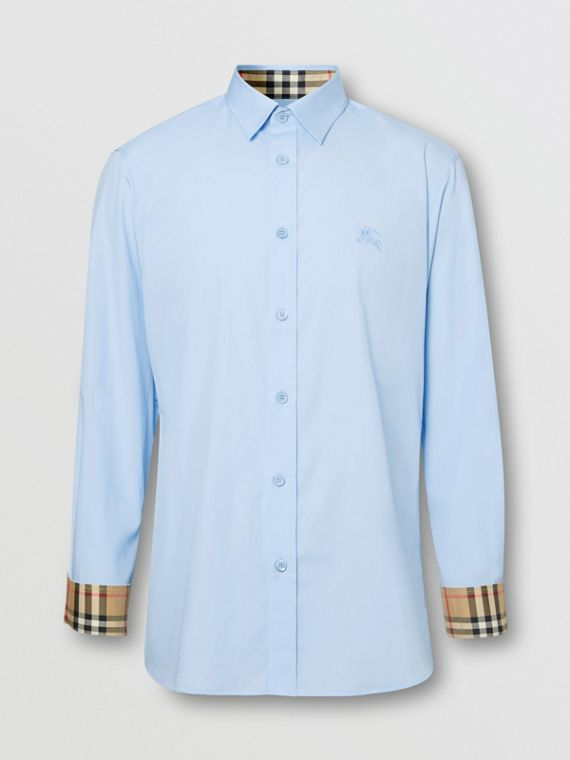 Classic Fit Embroidered EKD Cotton Oxford Shirt in Sky Blue