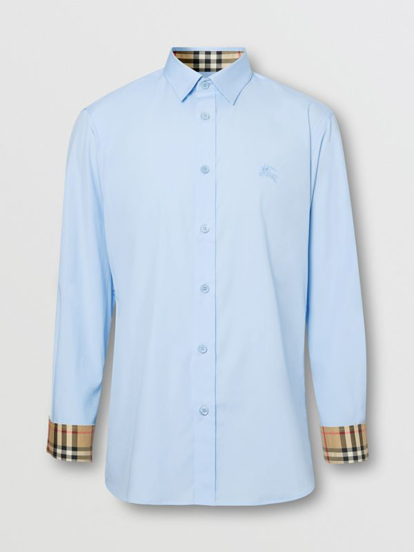 Classic Fit Embroidered EKD Cotton Oxford Shirt in Sky Blue - Men | Burberry - cell image 3