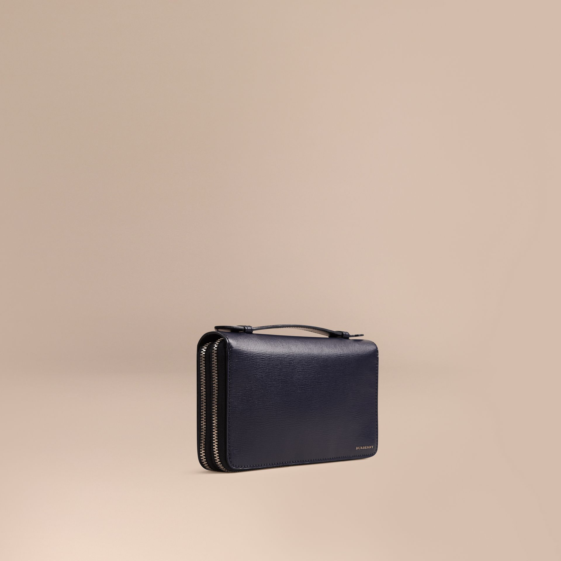 London Leather Travel Wallet in Dark Navy - Men | Burberry Singapore - gallery image 1