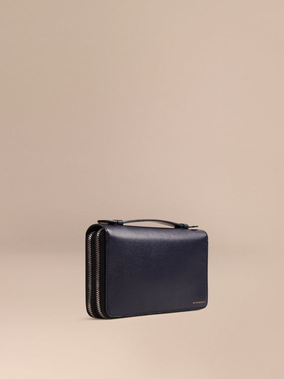 London Leather Travel Wallet in Dark Navy - Men | Burberry Australia