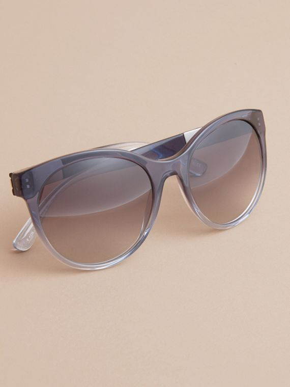 Check Detail Round Frame Sunglasses Blue - cell image 2