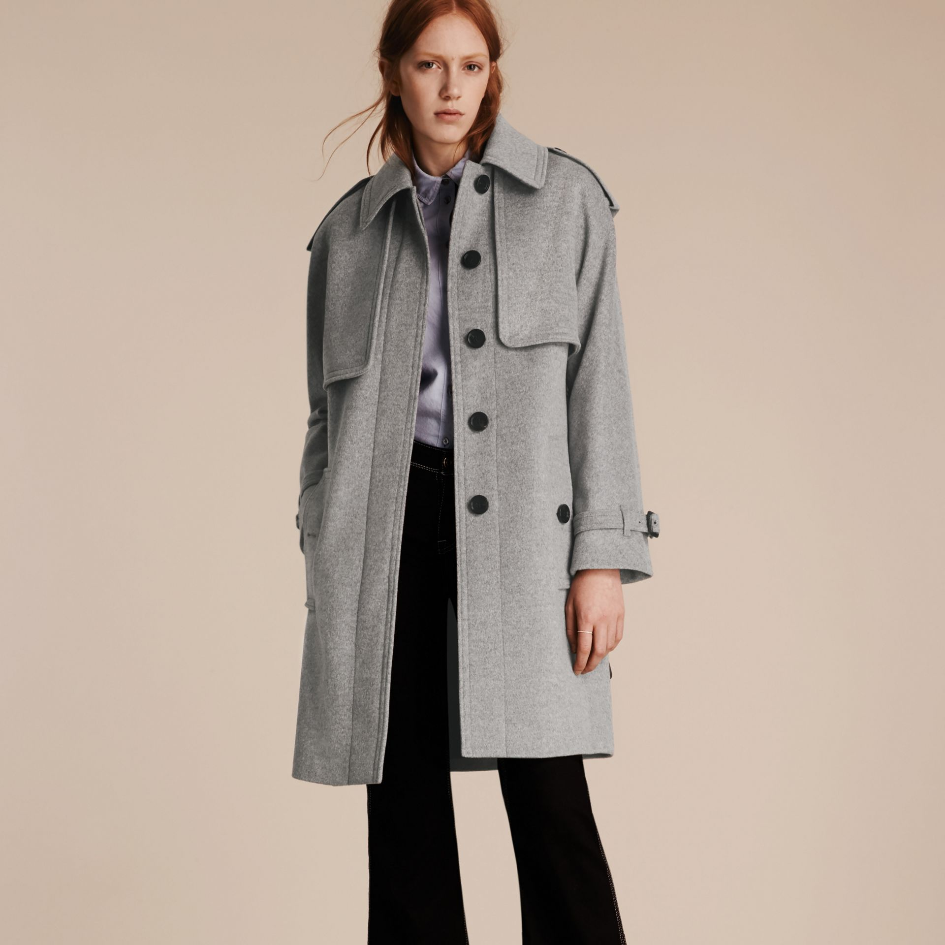 Pale grey melange Wool Cashmere Trench Coat with Oversize Detailing - gallery image 6