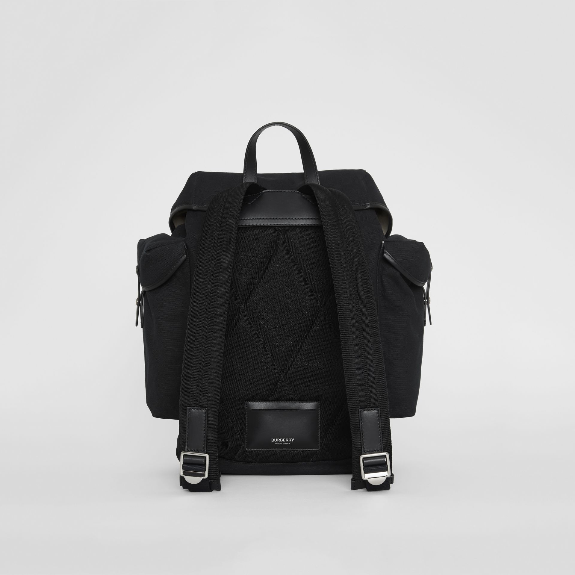 Medium Logo Detail Cotton Blend Backpack in Black - Men | Burberry - gallery image 5
