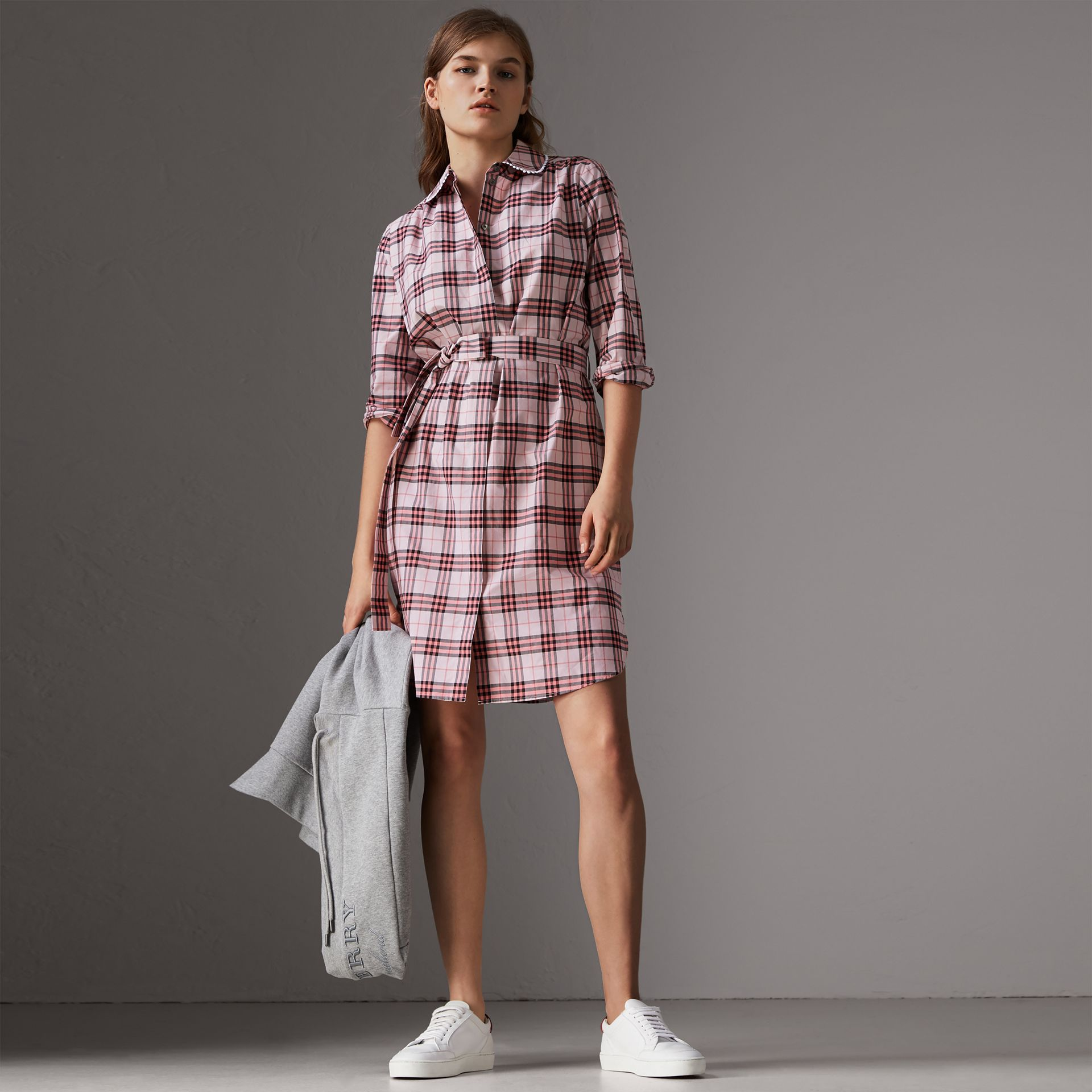 Lace Trim Collar Check Cotton Shirt Dress in Pink Azalea - Women | Burberry - gallery image 0
