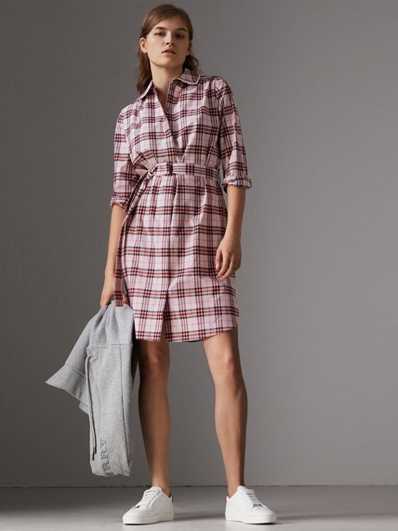 Lace Trim Collar Check Cotton Shirt Dress in Pink Azalea