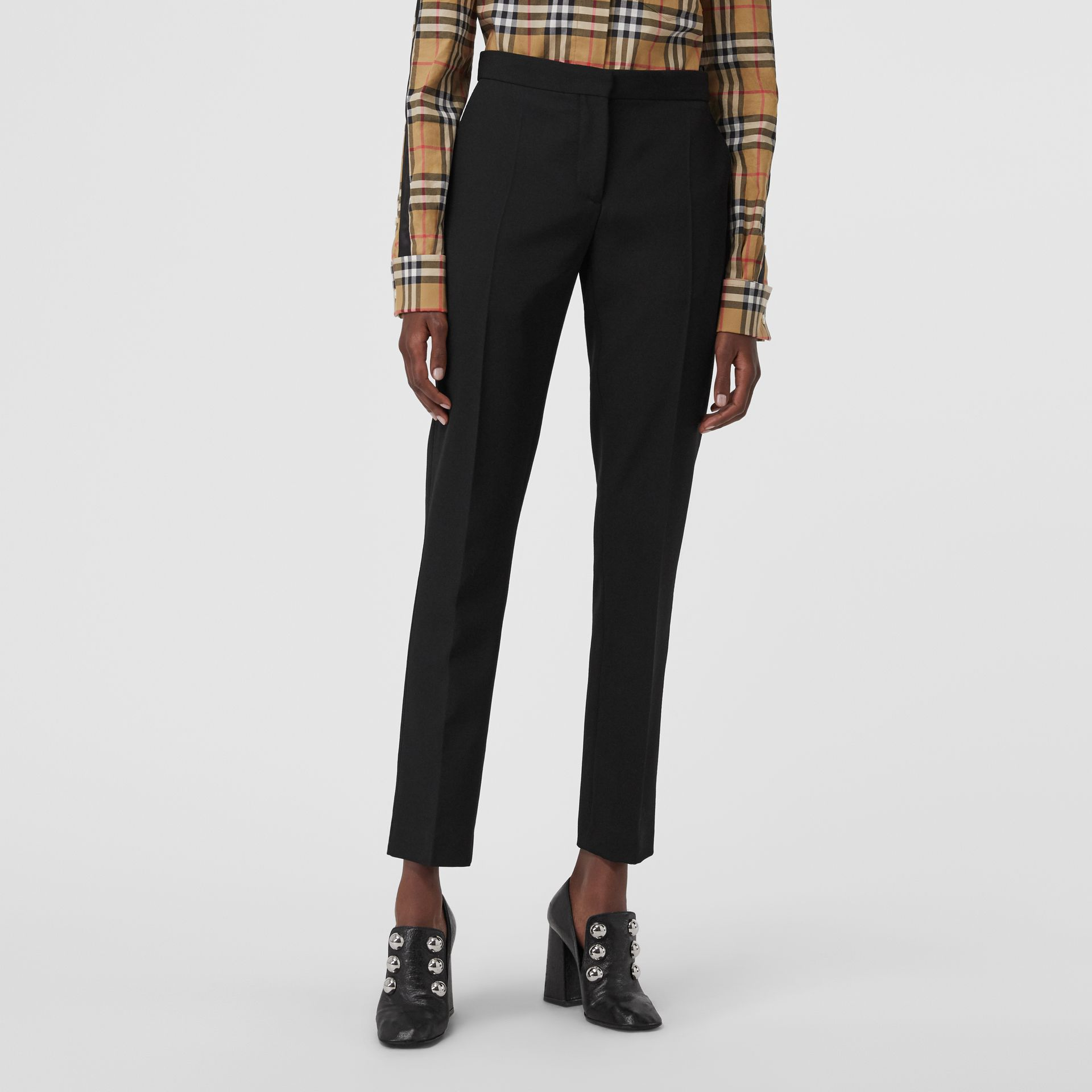 Straight Fit Wool Tailored Trousers in Black - Women | Burberry - gallery image 4