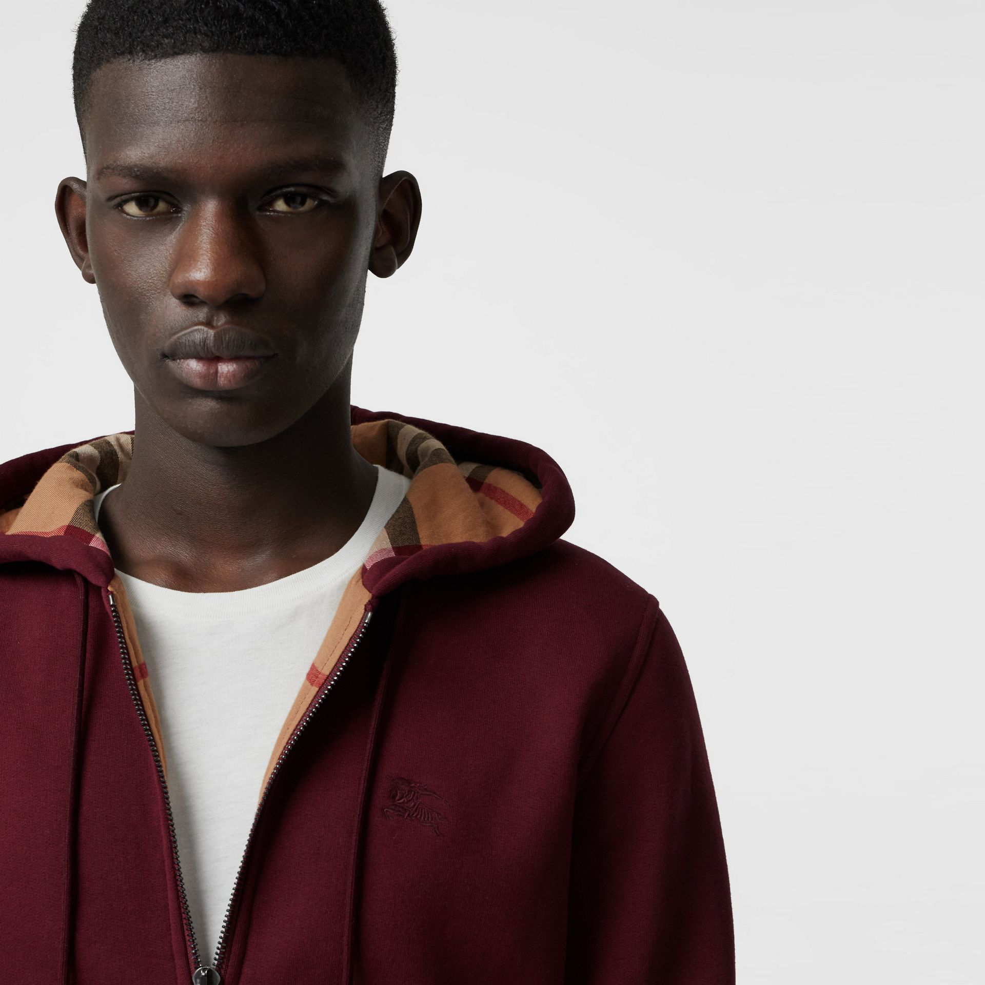 Check Detail Jersey Hooded Top in Dark Crimson - Men | Burberry - gallery image 1