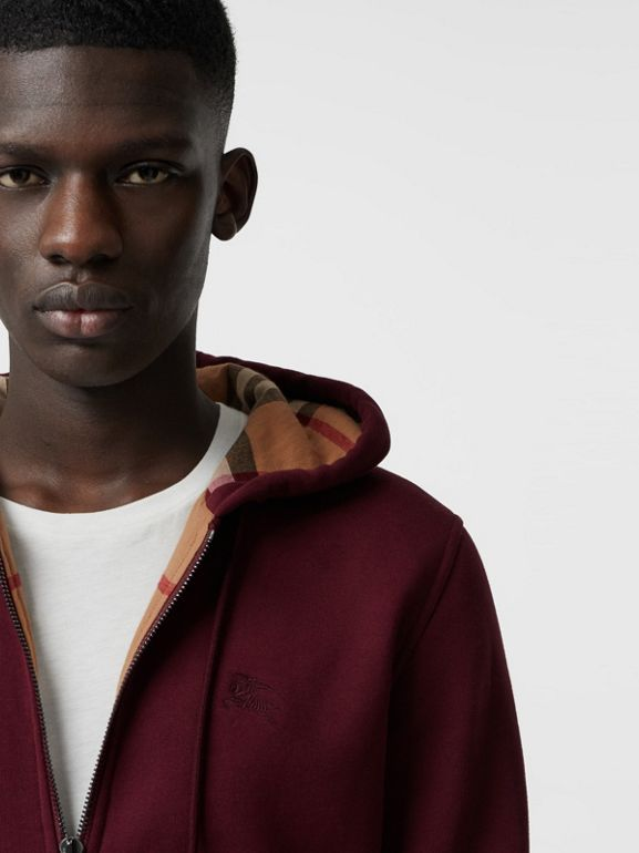 Check Detail Jersey Hooded Top in Dark Crimson - Men | Burberry Canada - cell image 1