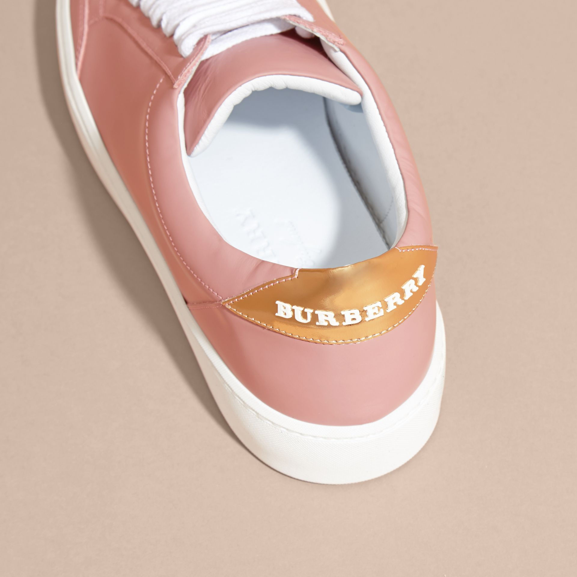 Metallic Detail Leather Trainers Rose Pink - gallery image 4