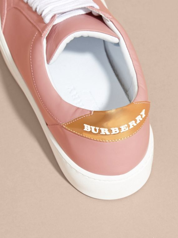 Metallic Detail Leather Sneakers Rose Pink - cell image 3