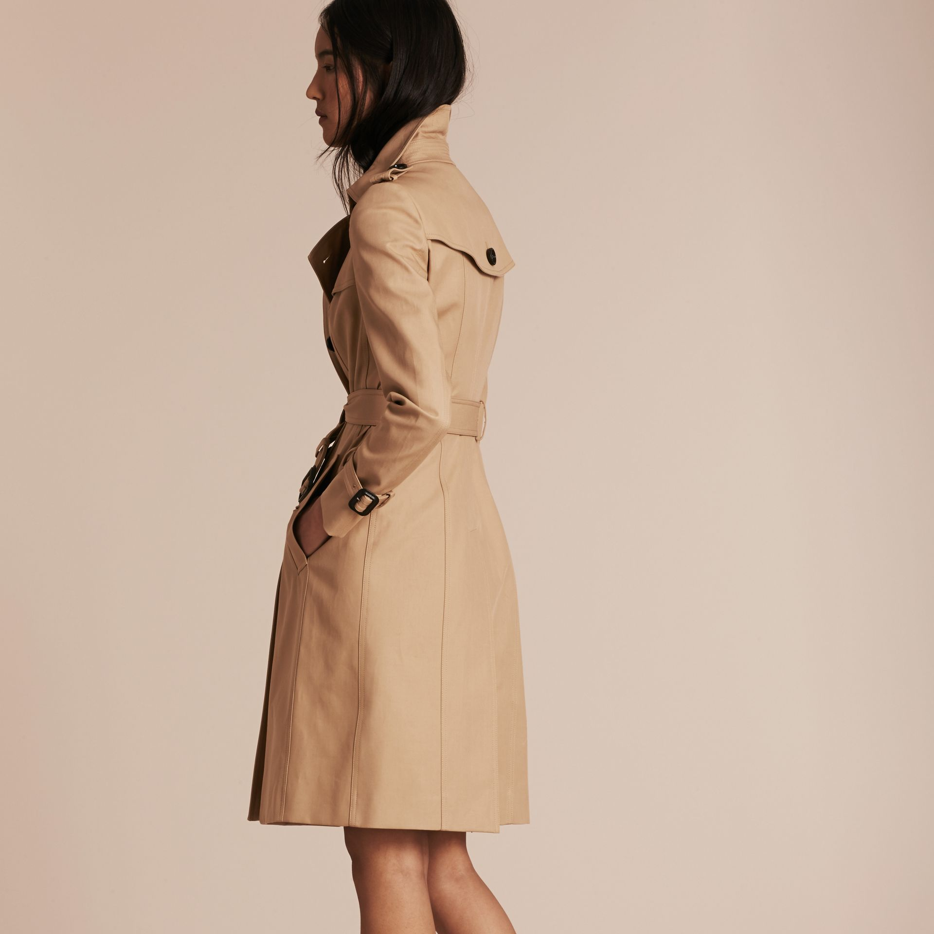 Cotton Gabardine Trench Coat Honey - gallery image 3