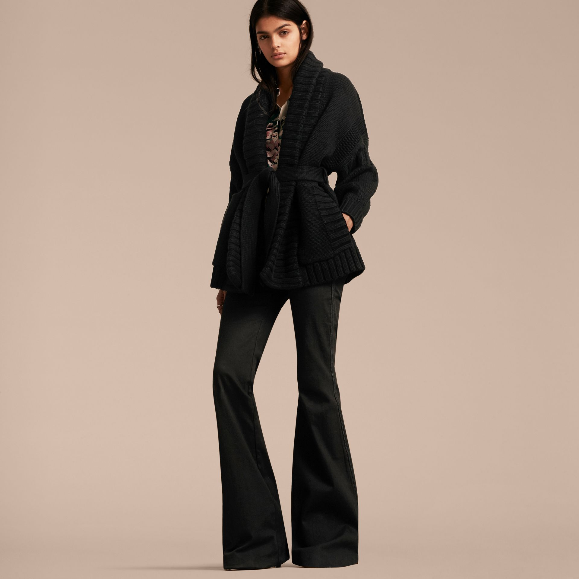 Black Knitted Wool Cashmere Belted Cardigan Jacket Black - gallery image 6