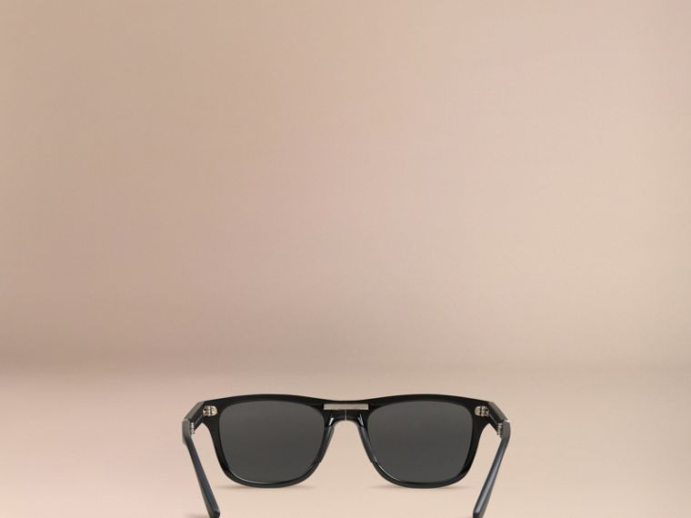 Black Folding Rectangular Frame Sunglasses Black - cell image 4