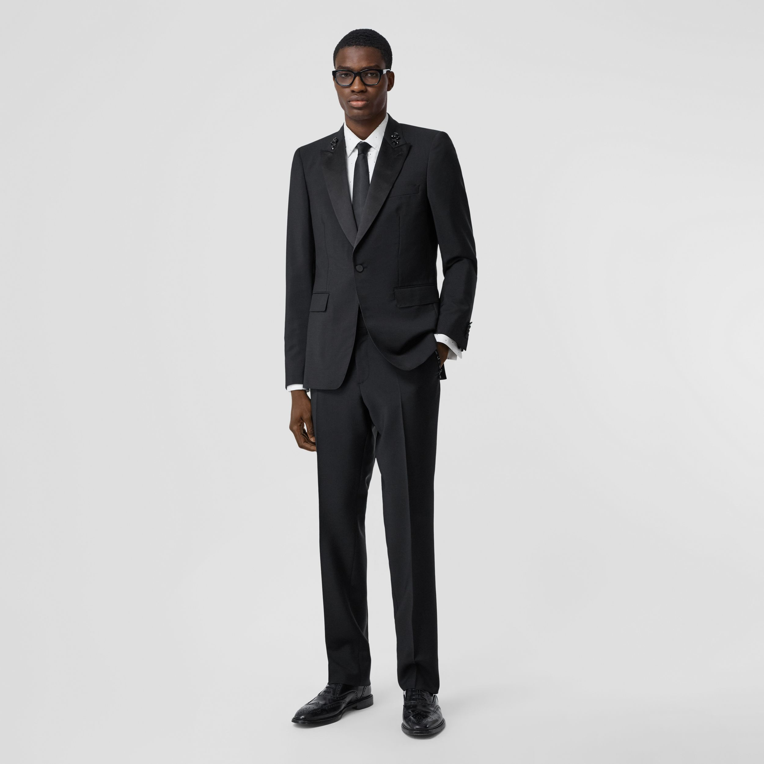 Classic Fit Embellished Mohair Wool Tailored Trousers in Black - Men | Burberry - 1