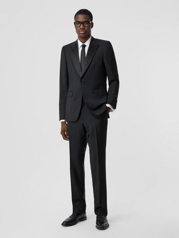 Klassisch geschnittene Hose aus Mohairwolle mit Zierdetails (Schwarz)