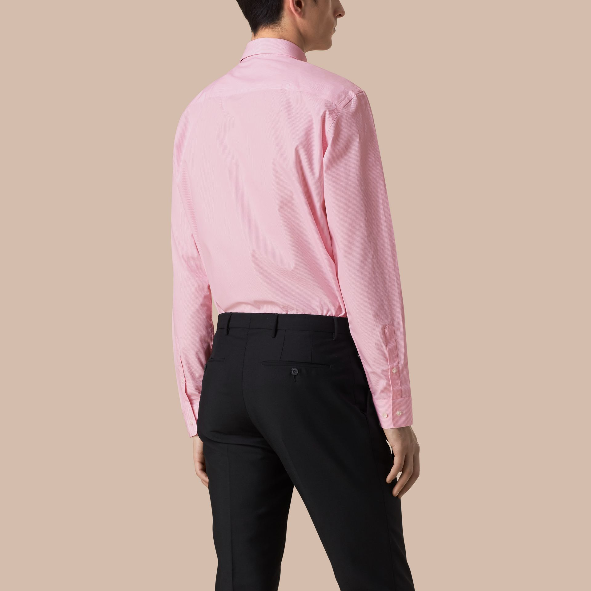 Modern Fit Striped Cotton Poplin Shirt in City Pink - Men | Burberry - gallery image 3