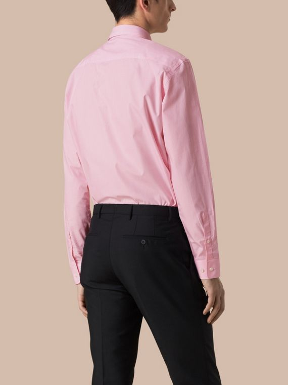 Modern Fit Striped Cotton Poplin Shirt in City Pink - cell image 2