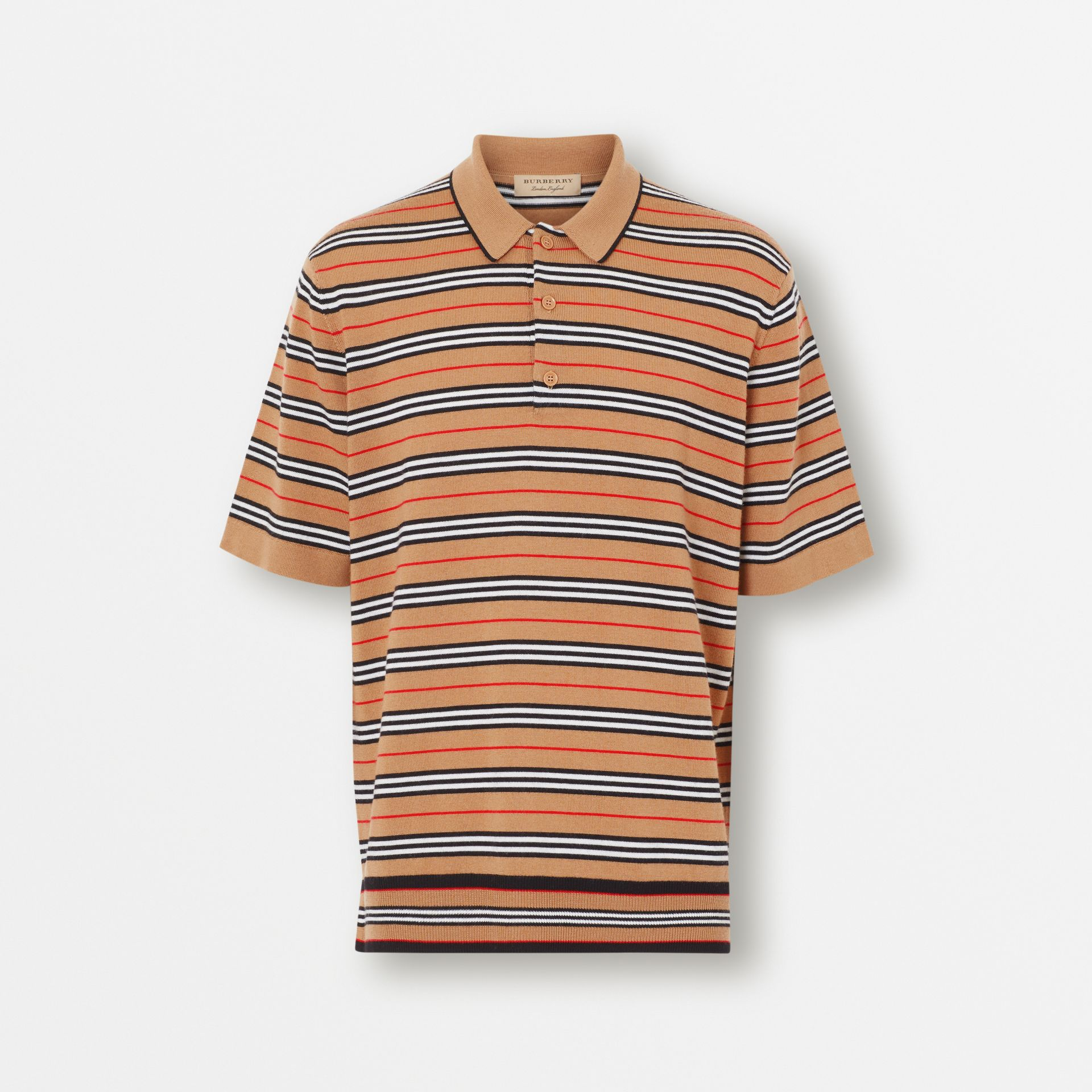 Icon Stripe Merino Wool Polo Shirt in Archive Beige - Men | Burberry - gallery image 3