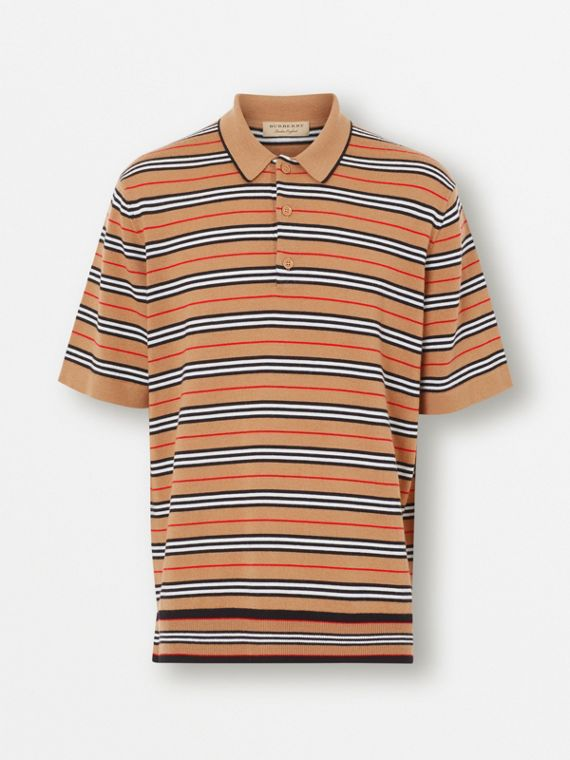 Icon Stripe Merino Wool Polo Shirt in Archive Beige 23b6ab09cf426