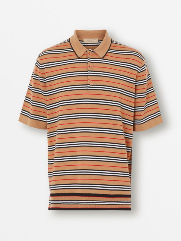 Icon Stripe Merino Wool Polo Shirt in Archive Beige - Men | Burberry - cell image 2