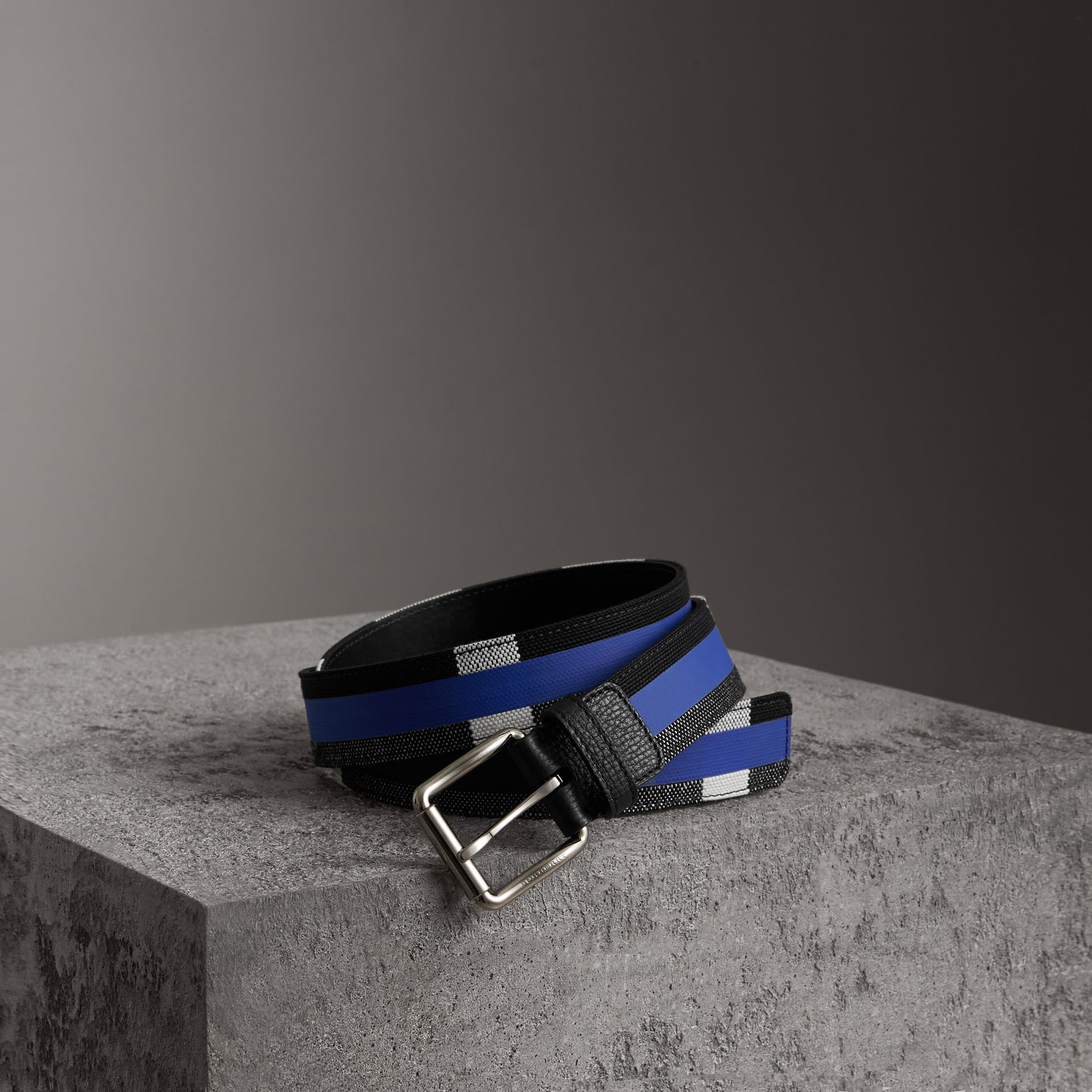 Striped Check Jute Cotton Belt in Blueberry/black - Men | Burberry United States - gallery image 0