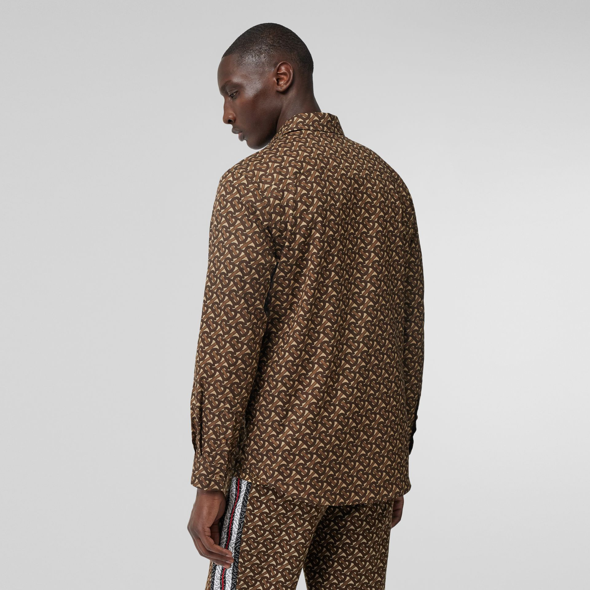 Monogram Stripe Print Cotton Shirt in Bridle Brown - Men | Burberry United Kingdom - gallery image 2
