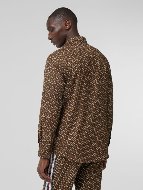 Monogram Stripe Print Cotton Shirt in Bridle Brown - Men | Burberry Hong Kong S.A.R - cell image 2