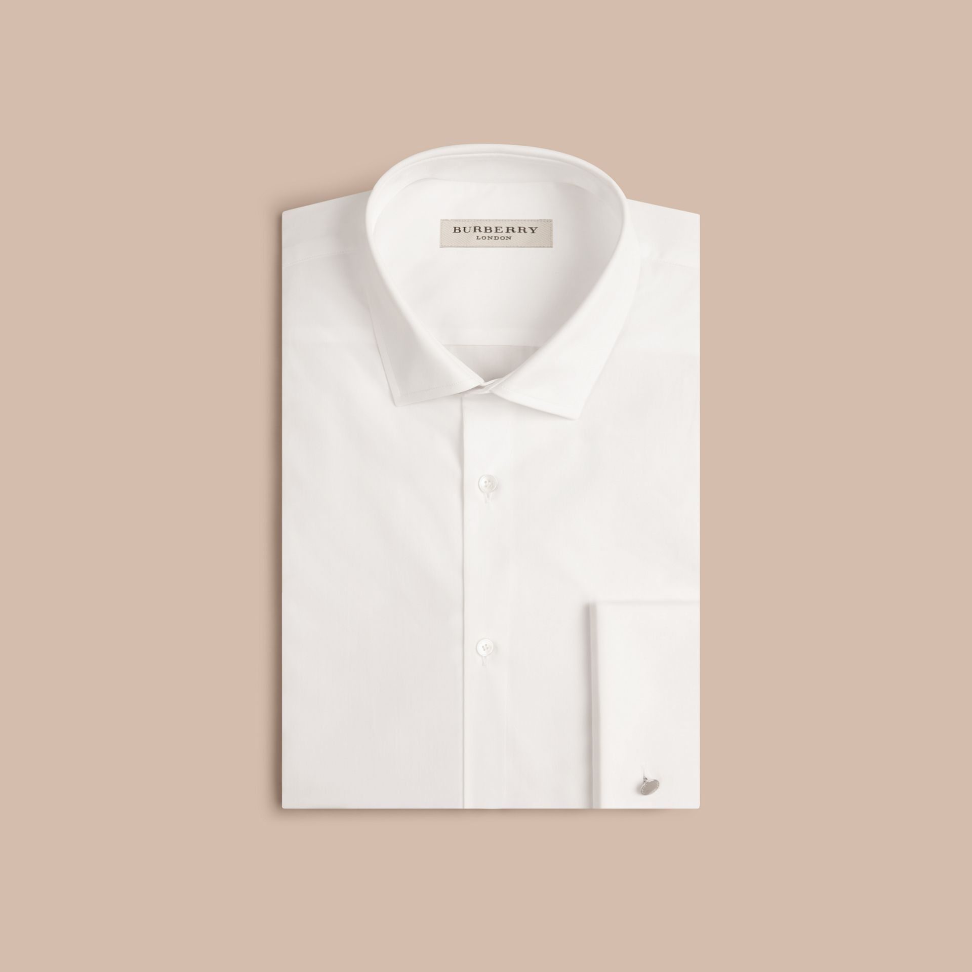 White Slim Fit Double Cuff Cotton Poplin Shirt - gallery image 4