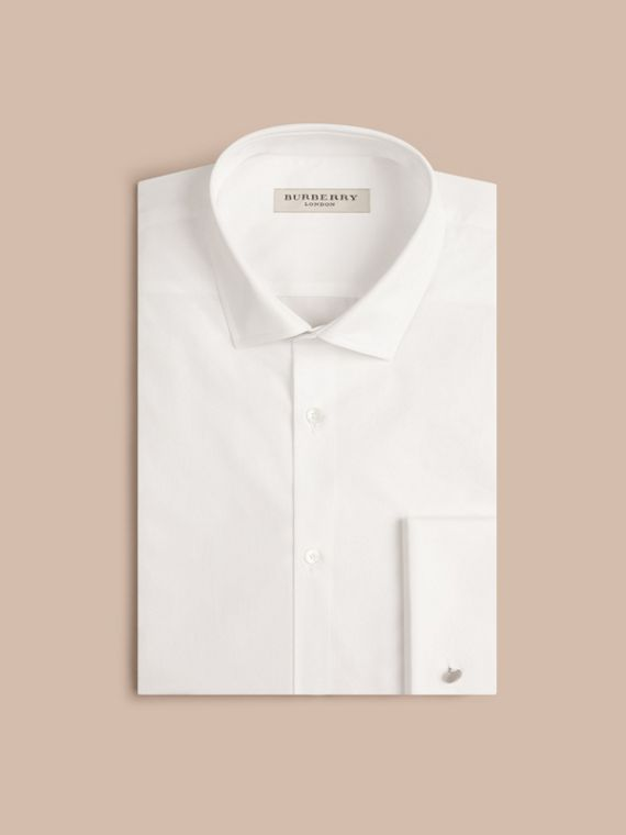 Slim Fit Double Cuff Cotton Poplin Shirt White