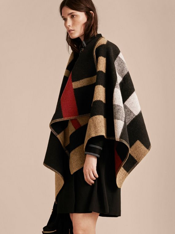 Check Wool and Cashmere Blanket Poncho House Check/black