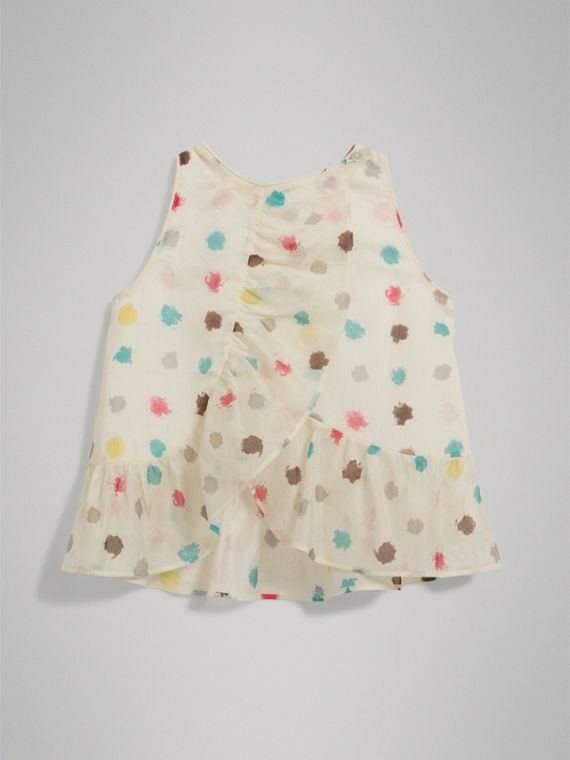 Top in cotone con stampa a pois e arricciature (Bianco Naturale) - Bambina | Burberry - cell image 3
