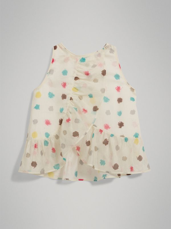 Ruffle Detail Spot Print Cotton Top in Natural White - Children | Burberry - cell image 3