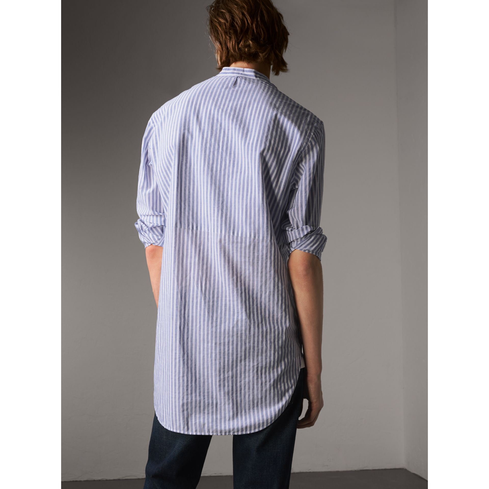 Unisex Pleated Bib Striped Cotton Shirt - Men | Burberry - gallery image 3
