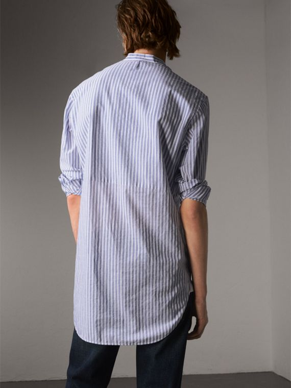 Unisex Pleated Bib Striped Cotton Shirt in Pale Blue/white - Men | Burberry - cell image 2